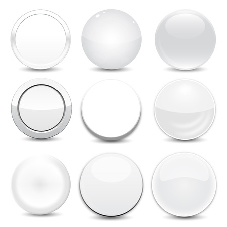 Blank White Buttons Vector