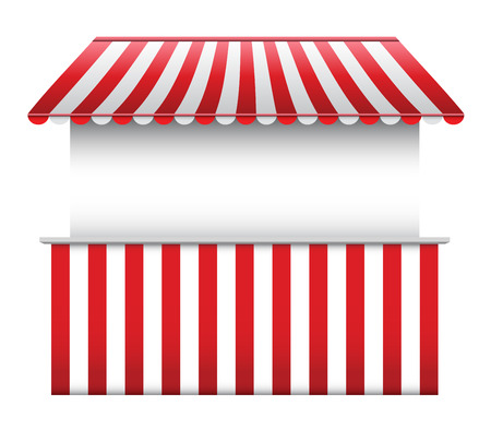 awning: Stall with Striped Awning