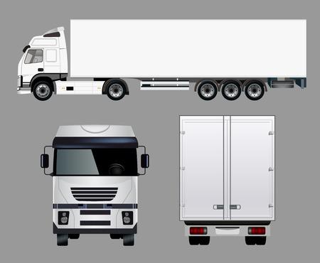 4 つの角度から商業用トラック