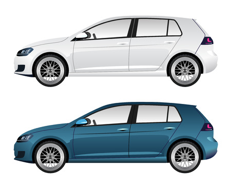 hatchback: White and Blue Hatchback Automobiles