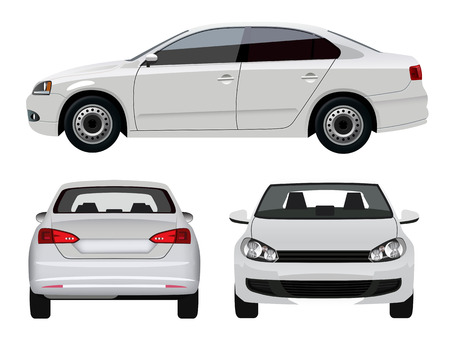 from side: White Vehicle - Sedan Car from three angles
