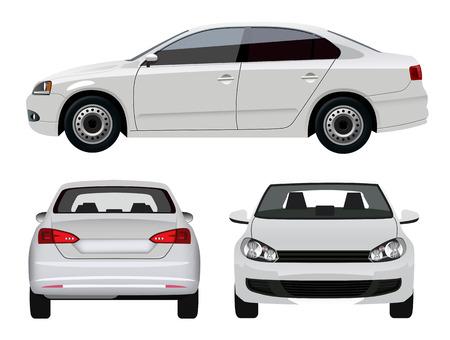 Witte Voertuig - Sedan Car vanuit drie invalshoeken Stock Illustratie