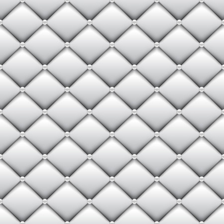 button tufted: Seamless White Leather Upholstery Pattern Illustration