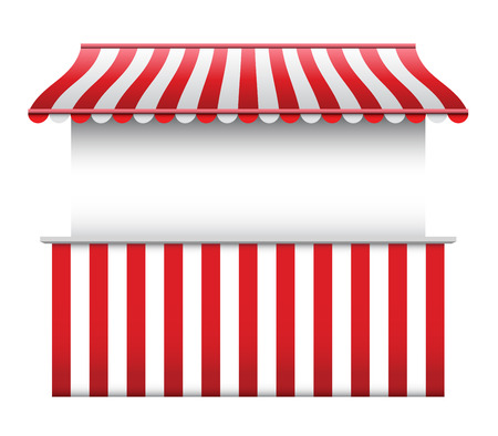marquee tent: Stall with Striped Awning