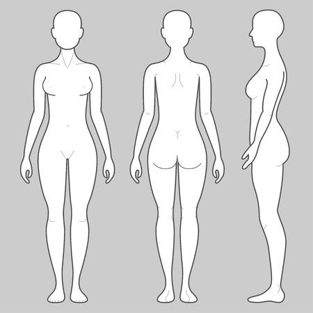corps femme nue: Body Femmes De avant et arri�re des vues de c�t� Illustration