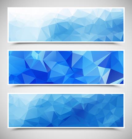 一組の青い三角旗  イラスト・ベクター素材