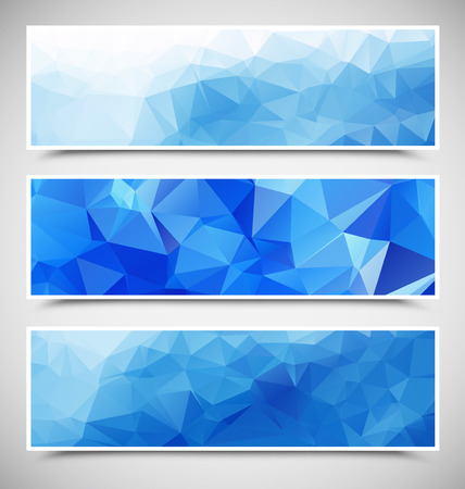 Set of Blue Triangular Banners