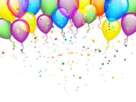 globos de cumpleaños: Globos con confeti Vectores
