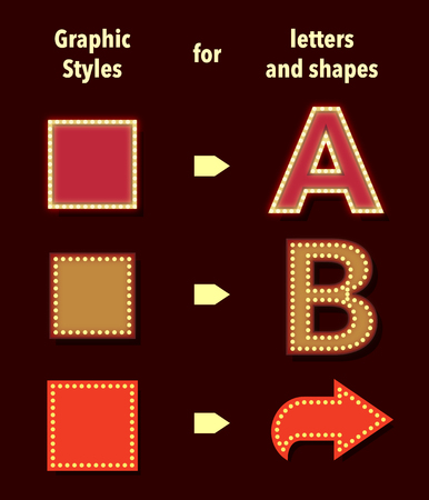 retro style: Broadway styles for text and shapes. Use illustrators graphic styles panels to apply styles.