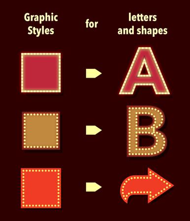 stile: stili di Broadway per il testo e forme. Utilizzare illustratori stili grafici pannelli per applicare stili.