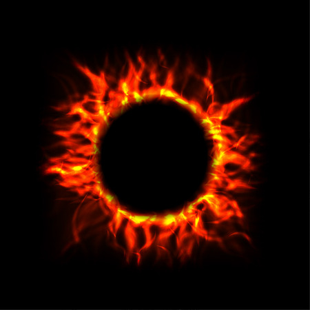light circular: Vector Fire Circle on Black Background
