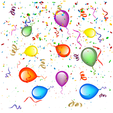 ribbon background: Confetti with Balloons Background