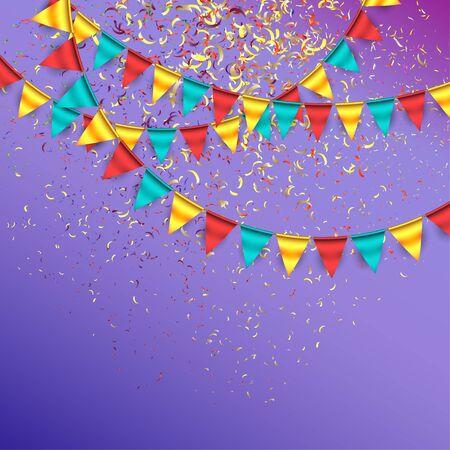 慶典: 與五彩紙屑和花環的慶祝背景 向量圖像