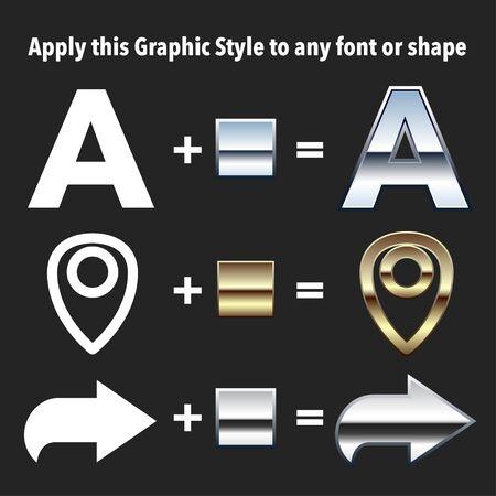 cromo: Chrome y gráficos Oro Estilos. Aplicar estilos a las formas y el texto usando estilos gráfico panel. Vectores