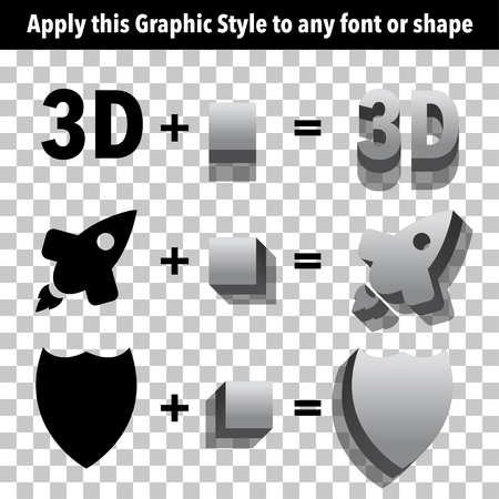 adobe: Gray 3d Graphic Styles for Adobe Illustrator. Apply styles to shapes and text using graphic styles panel. Illustration