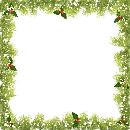 christmas tree branch: Christmas Fir Tree Border Illustration