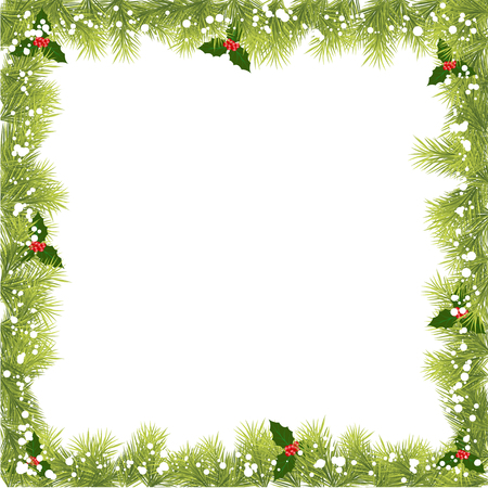 Kerst Fir Tree Border Stock Illustratie