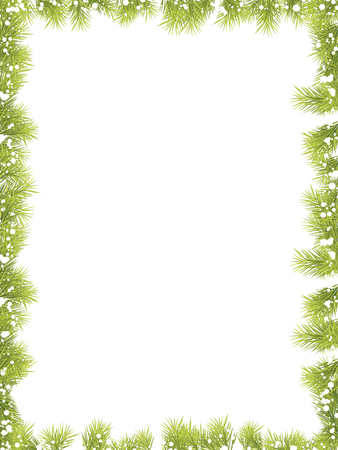 christmas decorations with white background: Christmas Fir Tree Borders Illustration