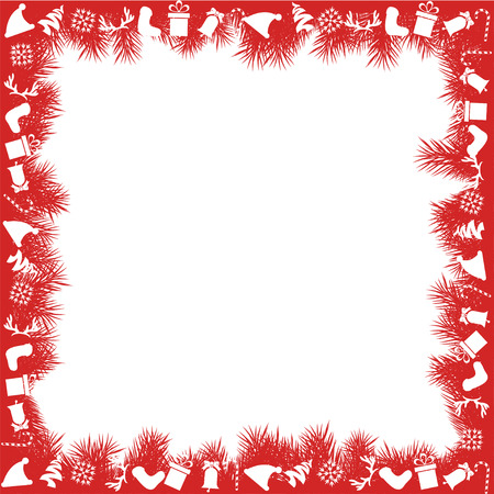 vintage frame vector: Red Christmas Border Illustration