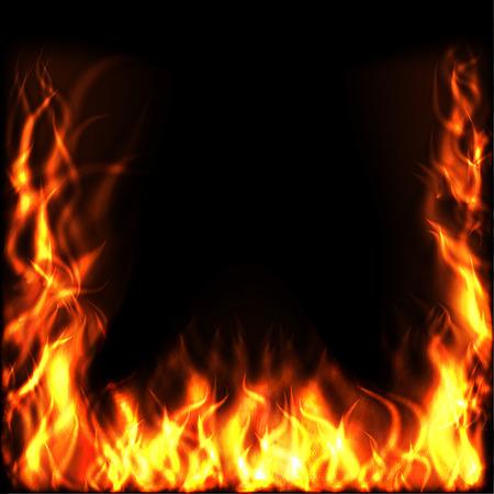 Fire over Black Background Illusztráció
