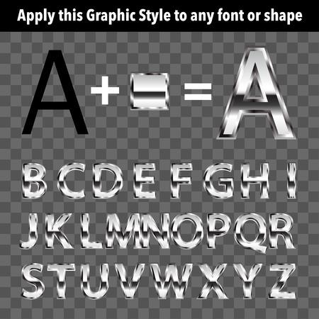 letras cromadas: Estilo gráfico del metal para el texto y formas. Aplicar mediante el panel Estilos gráficos.