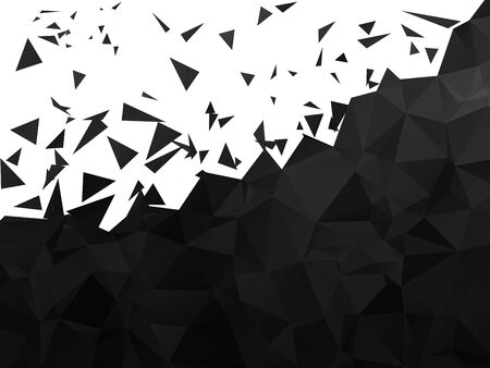 dispersed: Black Polygonal Background with Dispersed Flying Triangles