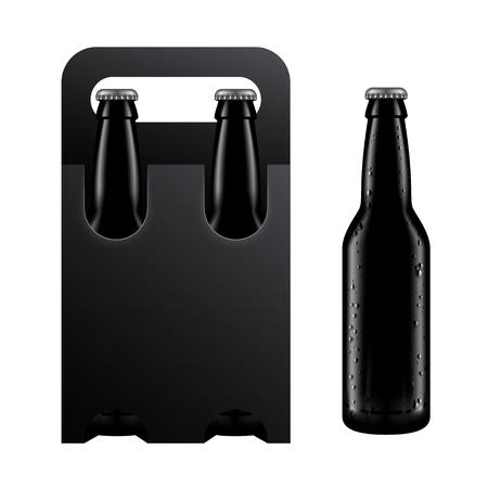 packaging industry: Beer Bottle and Black Packaging Mockup