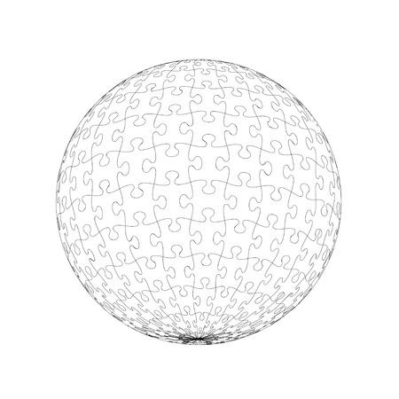 puzzle globe: Jigsaw Puzzle Globe Illustration