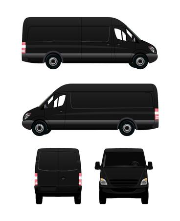 cargo van: Black Cargo Van From Four View Angles