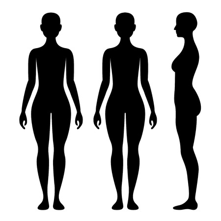 woman back: Female Body silhouette from three angles