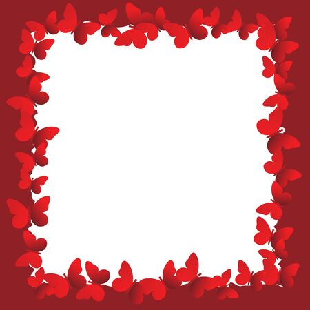 marcos decorativos: Valentines Day Frame with Butterflies