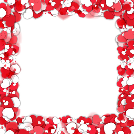 Red and White Hearts Border Illustration