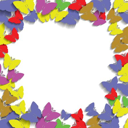 marcos decorativos: Frame with Colorful Butterflies