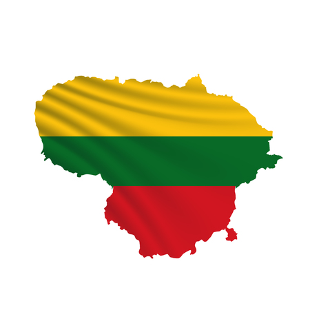 Wavy Lithuania Map Flag