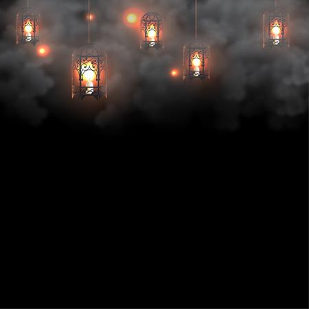 Linternas de Ramadán con velas sobre fondo oscuro Ilustración de vector