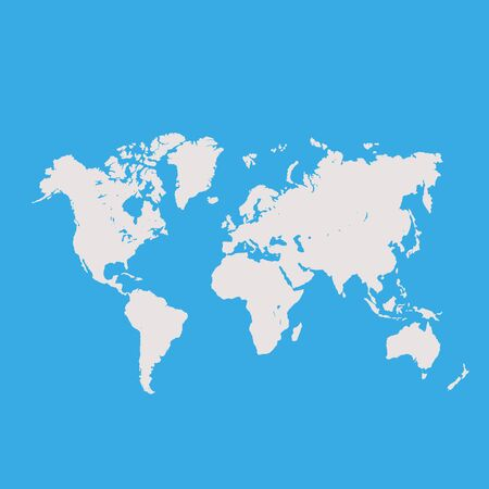 Vector World Map over Blue Background