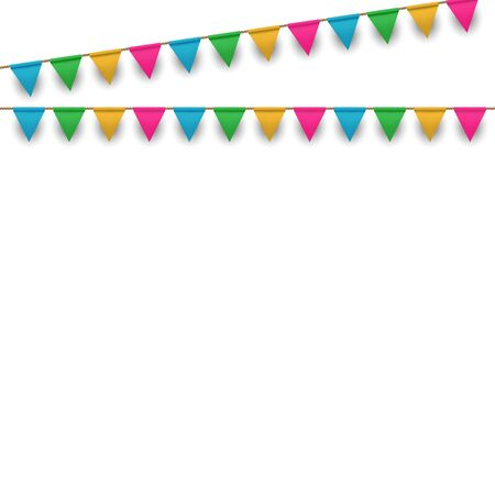 Vector Carnival Background with Colorful Flags Garlands