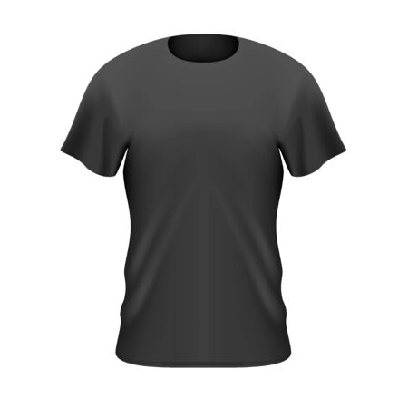 Black Mens T Shirt Front View Illustration