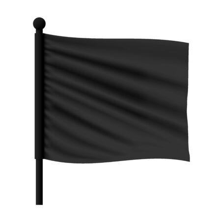 Realistic Vector Black Wavy Flag Mockup