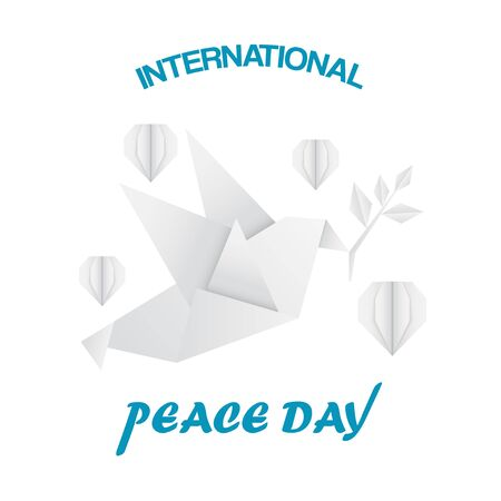 Blue Paper Peace Day Design with Origami Pigeon and Hearts Ilustracja
