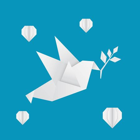 Paper Peace Day Design with Origami Pigeon and Hearts Çizim