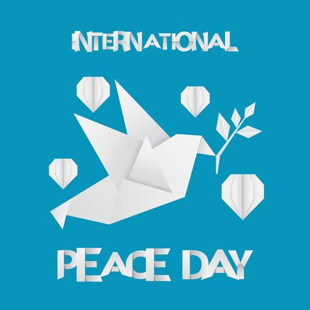 Paper Peace Day Design with Origami Pigeon and Hearts