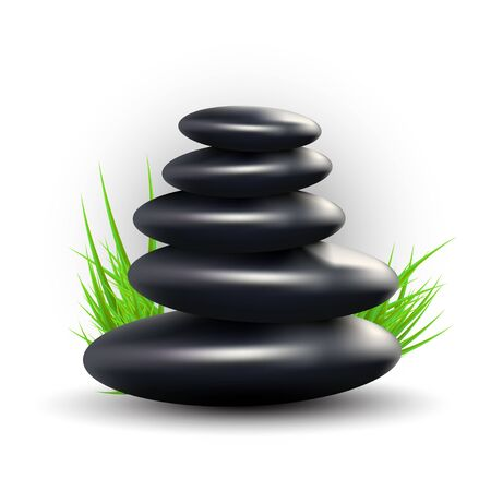 Spa Design with Zen Stones and Grass