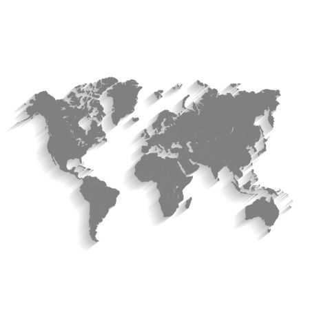 3d World Gray Map with Flat Shadow Illustration