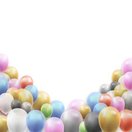 Birthday Party Vector Background with Balloons on White Background Illusztráció