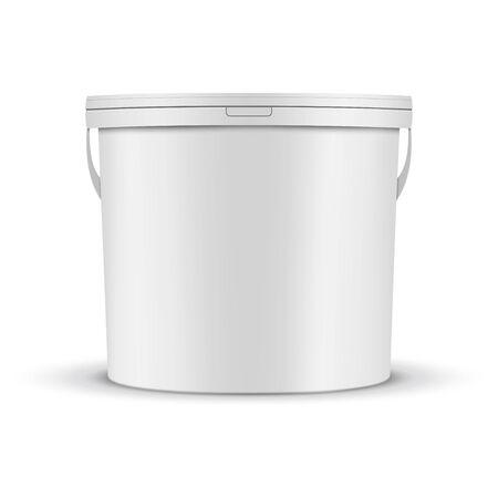 Maqueta de cubo de pintura blanca Ilustración de vector