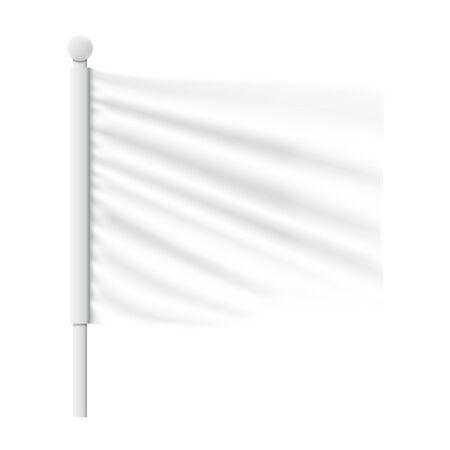 White Wavy Flag Mockup