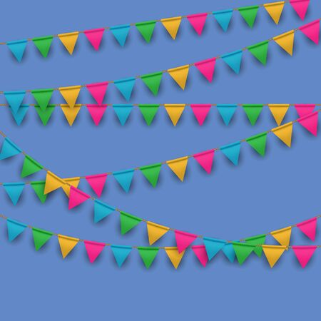 Vector Carnival Background with Hanging Flag Garlands Illusztráció