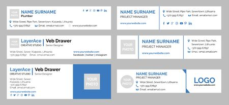 Professional Email Signature Templates Collection Stock Illustratie