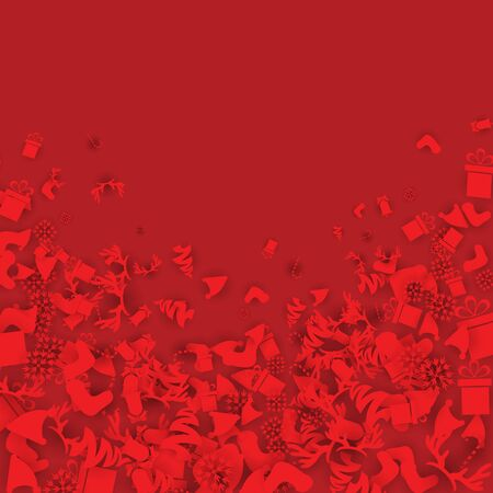 Red Christmas Background with Candies, baubles, socks, bells, snowflakes and gift boxes
